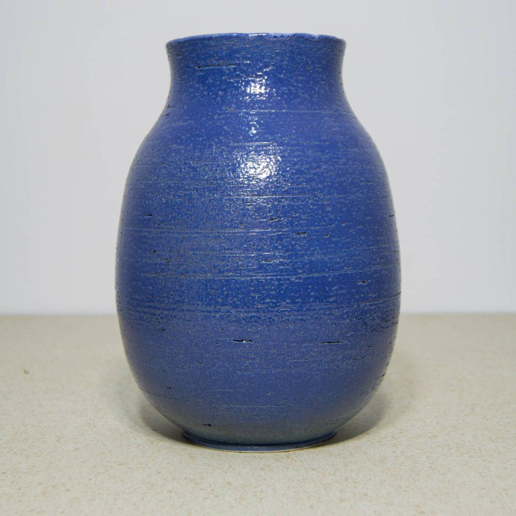 Jarrón de cerámica azul, pieza única. Hecho a mano, decoración para sala de estar