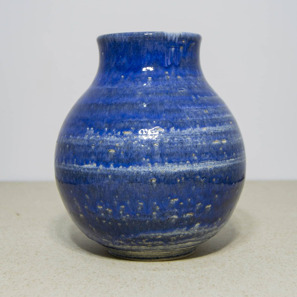 Jarrón de cerámica esmaltado, color azul, decoración del hogar