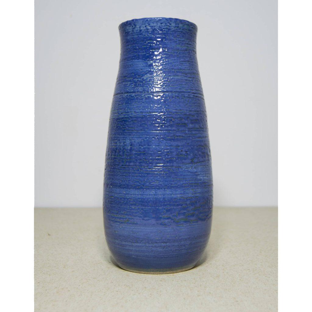 Jarrón cilíndrico de cerámica, azul, pieza única. Hecho a mano, para centros de mesa y eventos