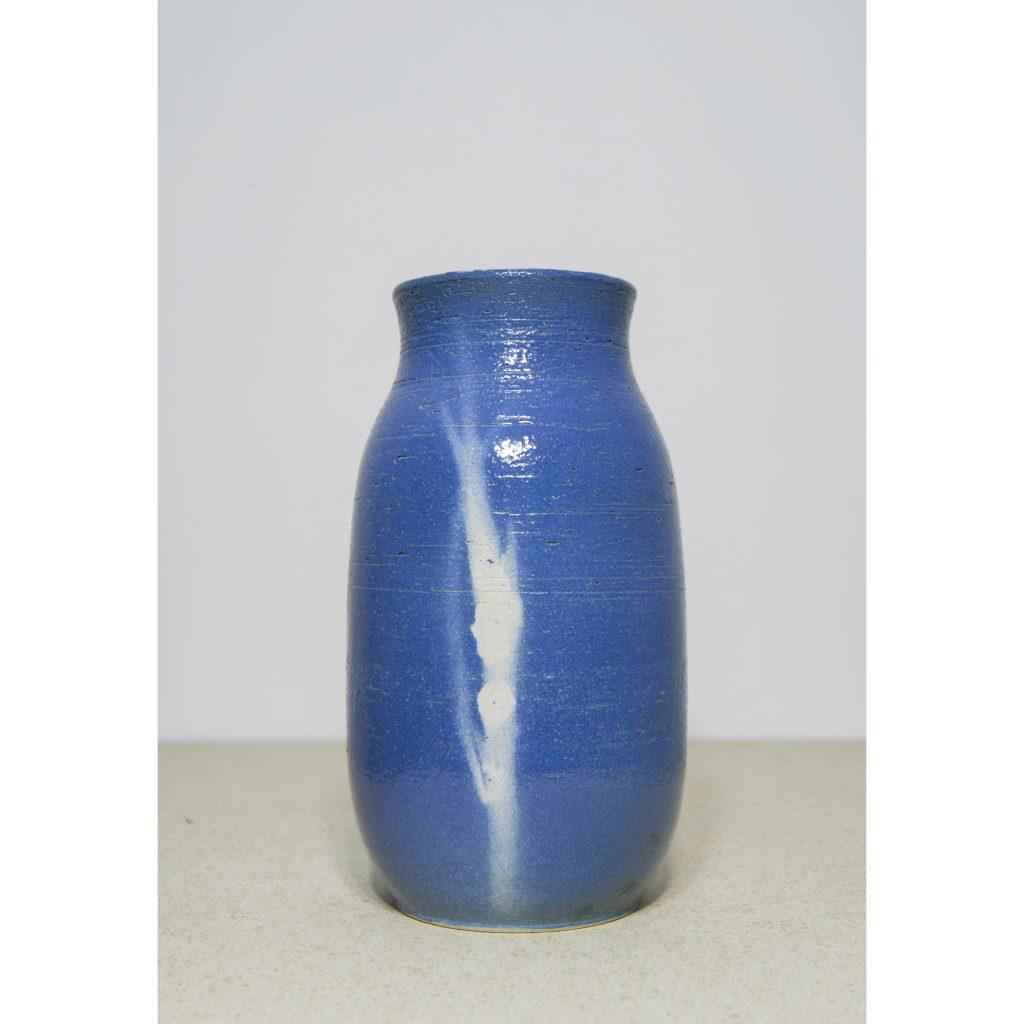 Jarrón pequeño de cerámica, azul, pieza única. Hecho a mano, florero decorativo