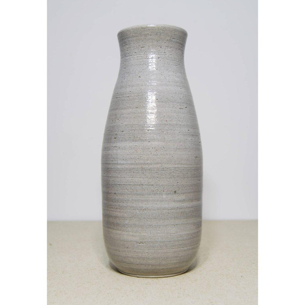 Jarrón gris grande de cerámica, pieza única. Hecho a mano, decoración del hogar y centros de mesa.